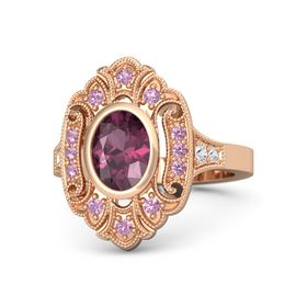 Oval Rhodolite Garnet 14K Rose Gold Ring with Pink Tourmaline & White Sapphire