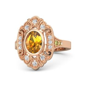 Oval Citrine 14K Rose Gold Ring with White Sapphire and Yellow Sapphire