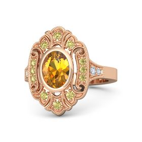 Oval Citrine 14K Rose Gold Ring with Yellow Sapphire & Diamond