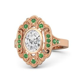 Oval White Sapphire 14K Rose Gold Ring with Emerald