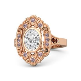 Oval White Sapphire 14K Rose Gold Ring with Rhodolite Garnet and Red Garnet
