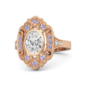 Oval White Sapphire 14K Rose Gold Ring with Tanzanite and Diamond