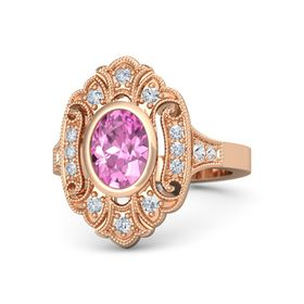 Oval Pink Sapphire 14K Rose Gold Ring with Diamond and White Sapphire