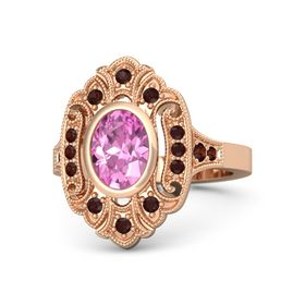 Oval Pink Sapphire 14K Rose Gold Ring with Red Garnet