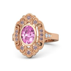 Oval Pink Sapphire 14K Rose Gold Ring with Rhodolite Garnet and Diamond