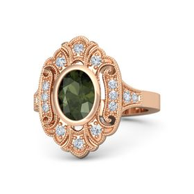 Oval Green Tourmaline 14K Rose Gold Ring with Diamond