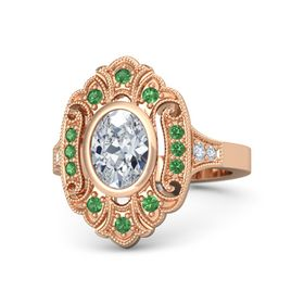 Oval Moissanite 14K Rose Gold Ring with Emerald and Diamond
