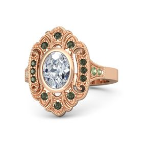 Oval Moissanite 14K Rose Gold Ring with Green Tourmaline and Peridot