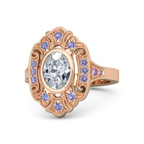 Oval Moissanite 14K Rose Gold Ring with Iolite and Pink Sapphire