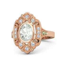 Oval Green Amethyst 14K Rose Gold Ring with Diamond and Peridot