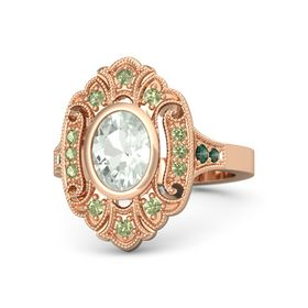 Oval Green Amethyst 14K Rose Gold Ring with Peridot and Alexandrite