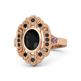 Oval Black Onyx 14K Rose Gold Ring with Black Diamond and Amethyst