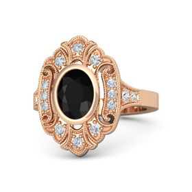 Oval Black Onyx 14K Rose Gold Ring with Diamond and White Sapphire