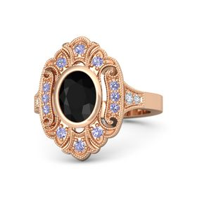 Oval Black Onyx 14K Rose Gold Ring with Tanzanite and Diamond