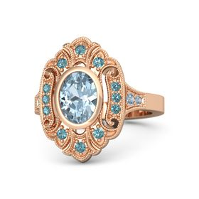Oval Aquamarine 14K Rose Gold Ring with London Blue Topaz and Blue Topaz