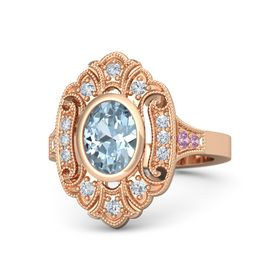 Oval Aquamarine 14K Rose Gold Ring with Diamond and Pink Tourmaline