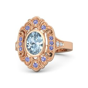 Oval Aquamarine 14K Rose Gold Ring with Iolite and Diamond