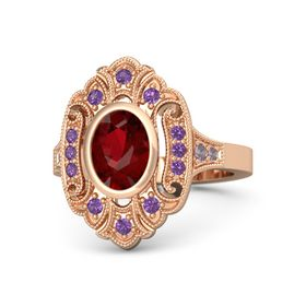 Oval Ruby 14K Rose Gold Ring with Amethyst and Rhodolite Garnet