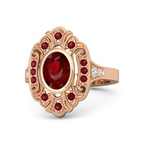 Oval Ruby 14K Rose Gold Ring with Ruby & White Sapphire