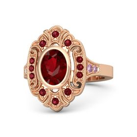 Oval Ruby 14K Rose Gold Ring with Ruby and Pink Sapphire