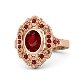 Oval Ruby 14K Rose Gold Ring with Ruby
