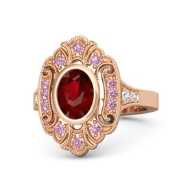 Oval Ruby 14K Rose Gold Ring with Pink Tourmaline and White Sapphire