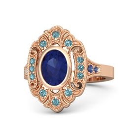 Oval Blue Sapphire 14K Rose Gold Ring with London Blue Topaz and Blue Sapphire