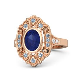 Oval Blue Sapphire 14K Rose Gold Ring with Blue Topaz and White Sapphire