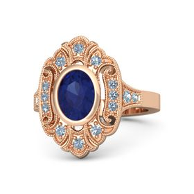 Oval Blue Sapphire 14K Rose Gold Ring with Blue Topaz and Aquamarine