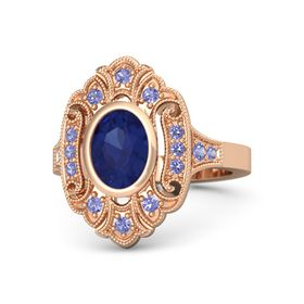 Oval Blue Sapphire 14K Rose Gold Ring with Iolite