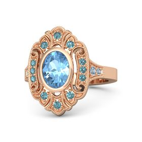 Oval Blue Topaz 14K Rose Gold Ring with London Blue Topaz and Blue Topaz