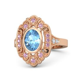 Oval Blue Topaz 14K Rose Gold Ring with Pink Sapphire and Diamond