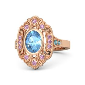 Oval Blue Topaz 14K Rose Gold Ring with Pink Tourmaline and London Blue Topaz