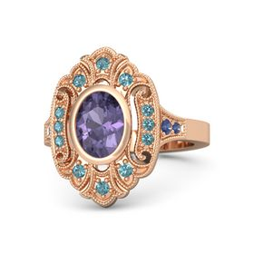 Oval Iolite 14K Rose Gold Ring with London Blue Topaz and Blue Sapphire