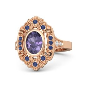 Oval Iolite 14K Rose Gold Ring with Blue Sapphire and White Sapphire