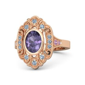 Oval Iolite 14K Rose Gold Ring with Blue Topaz and Pink Tourmaline