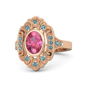Oval Pink Tourmaline 14K Rose Gold Ring with London Blue Topaz
