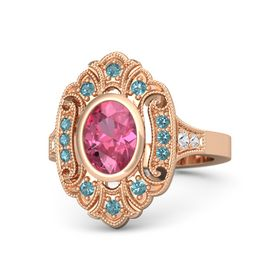 Oval Pink Tourmaline 14K Rose Gold Ring with London Blue Topaz & White Sapphire