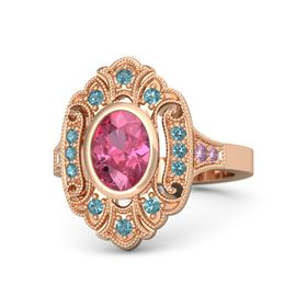 Oval Pink Tourmaline 14K Rose Gold Ring with London Blue Topaz and Pink Sapphire