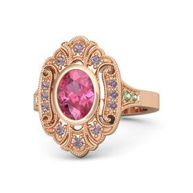 Oval Pink Tourmaline 14K Rose Gold Ring with Rhodolite Garnet and Peridot