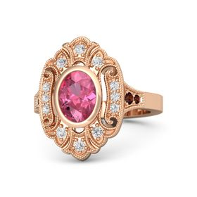 Oval Pink Tourmaline 14K Rose Gold Ring with White Sapphire and Red Garnet