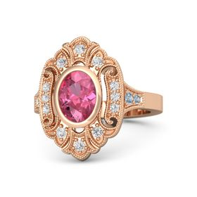 Oval Pink Tourmaline 14K Rose Gold Ring with White Sapphire & Blue Topaz