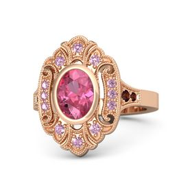 Oval Pink Tourmaline 14K Rose Gold Ring with Pink Sapphire & Red Garnet