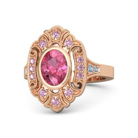 Oval Pink Tourmaline 14K Rose Gold Ring with Pink Sapphire & Blue Topaz