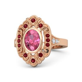 Oval Pink Tourmaline 14K Rose Gold Ring with Ruby & Diamond