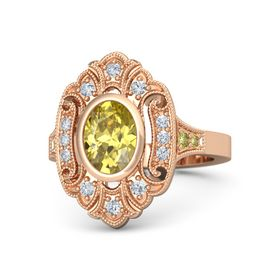 Oval Yellow Sapphire 14K Rose Gold Ring with Diamond and Yellow Sapphire