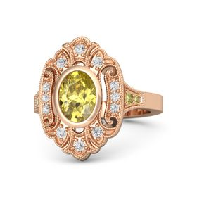 Oval Yellow Sapphire 14K Rose Gold Ring with White Sapphire & Yellow Sapphire