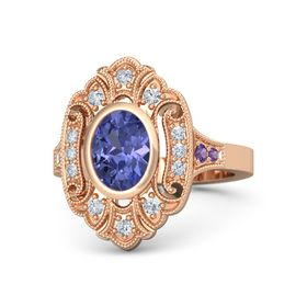 Oval Tanzanite 14K Rose Gold Ring with Diamond and Amethyst