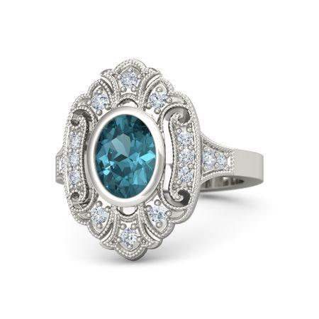 Oval London Blue Topaz 14K White Gold Ring with Diamond ...