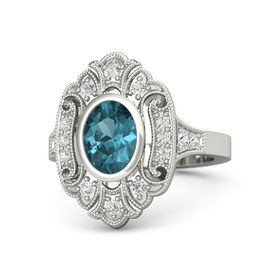 Oval London Blue Topaz 14K White Gold Ring with White Sapphire